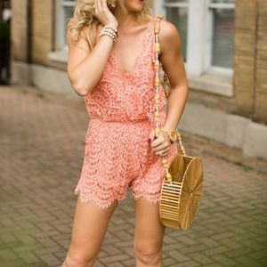 Other - Peach Lace Romper